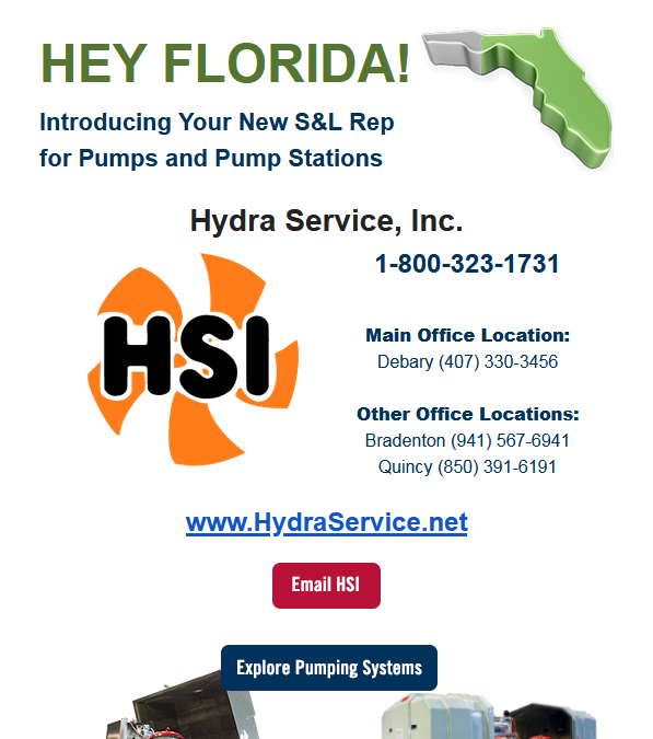 Hydra Service, INC Named New S&L Rep for Pumps and Pump Stations